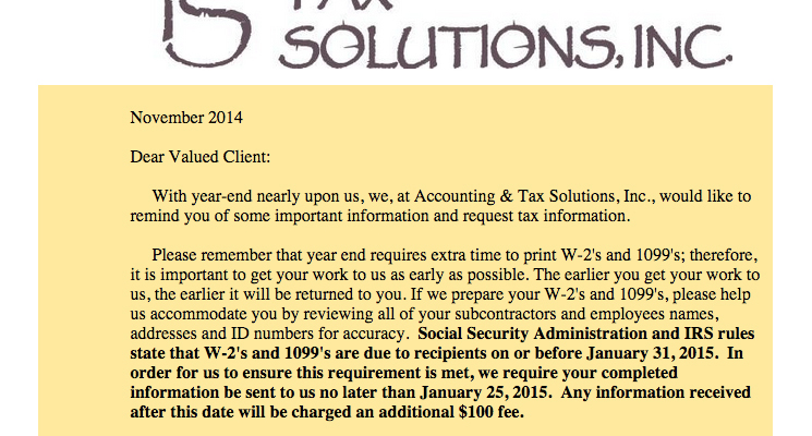 2014 Accounting Amp Tax Solutions Year End Letter