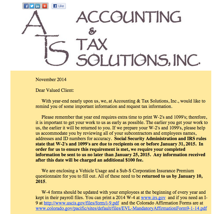 2014 Accounting & Tax Solutions Year End Letter ...